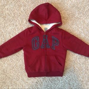 GAP Sherpa lined red and blue zippered hoodie